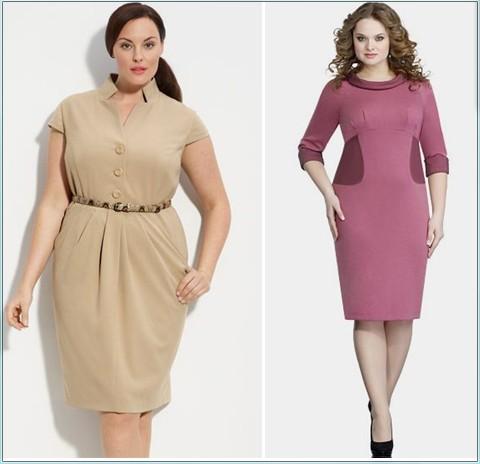 Модель делового платья для полных